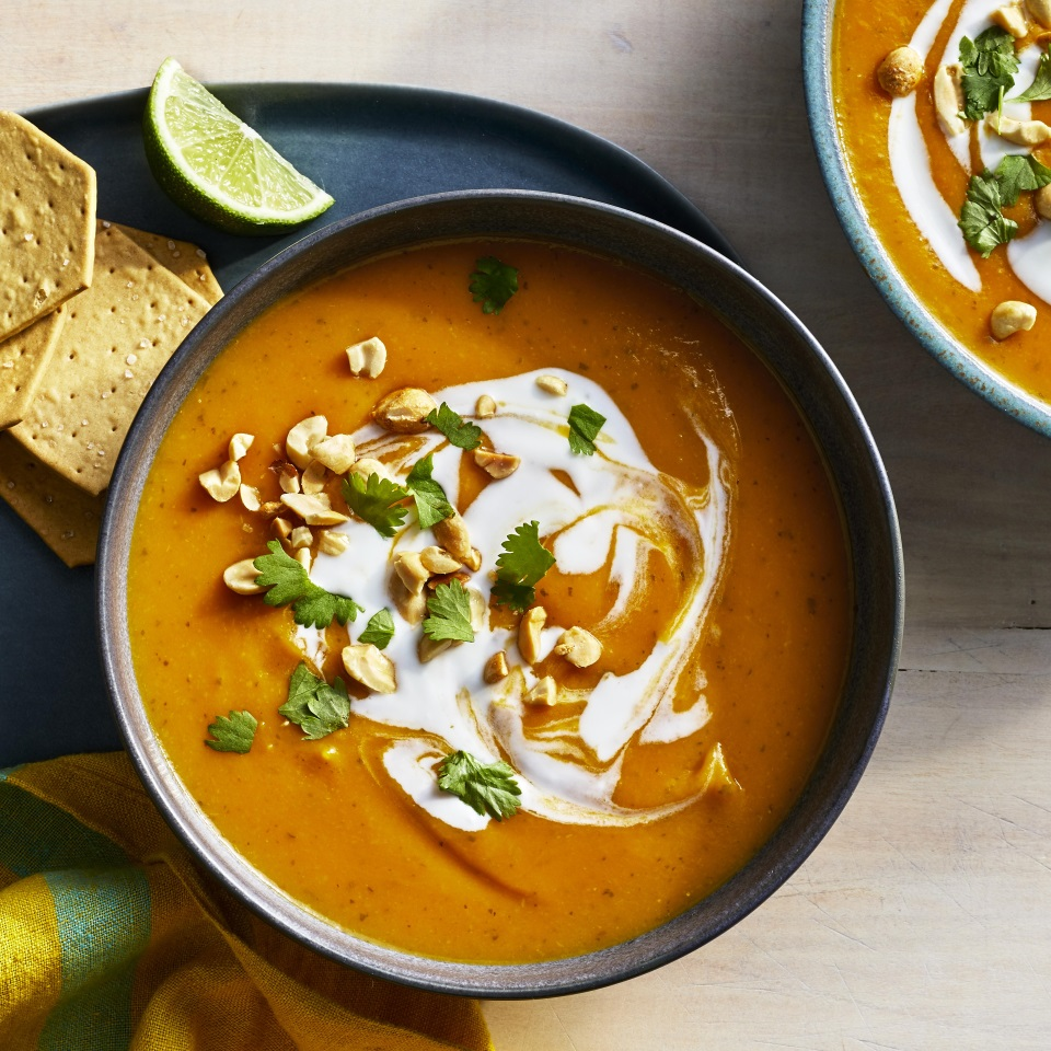 Use your Instant Pot—or any other pressure cooker—to whip up this healthy butternut squash soup. Anjou pears add sweetness, while the soup gets creaminess and a wonderful flavor from light coconut milk, and a bright, fresh kick from ginger, cilantro and lime. Finishing the soup with whole-milk yogurt adds a nice richness, but you can skip it to keep the soup vegan. (Allow the soup to cool slightly before stirring in the yogurt so it doesn't curdle.) This soup would be equally delicious chilled.