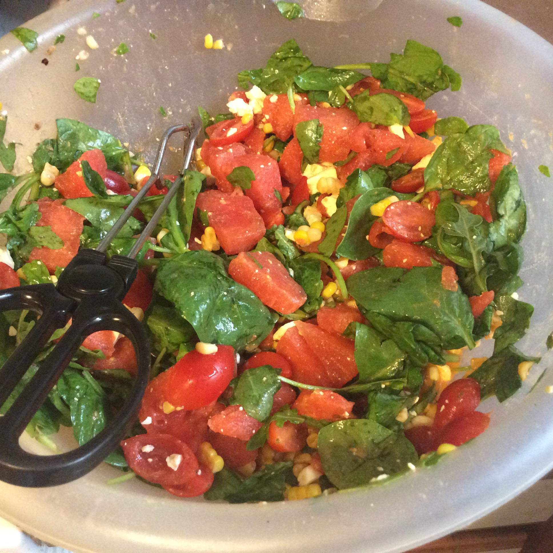 Watermelon and Feta Salad with Arugula and Spinach Techgal83