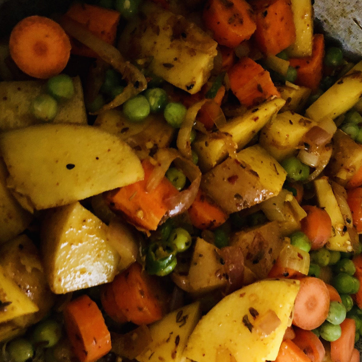 Indian Carrots, Peas and Potatoes
