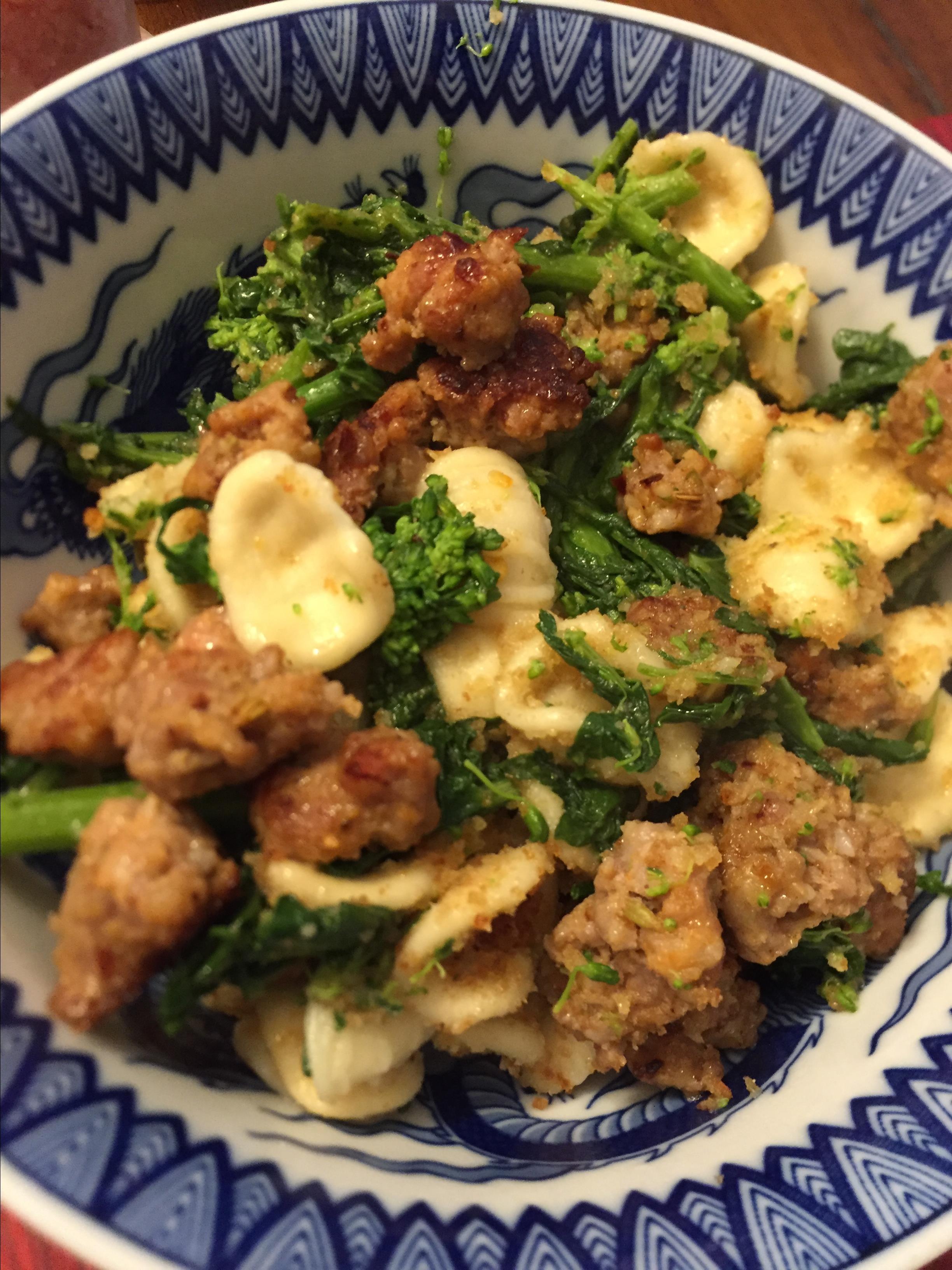 Orecchiette Pasta with Broccoli Rabe, Sausage, and Pecorino Cheese Larry Alex