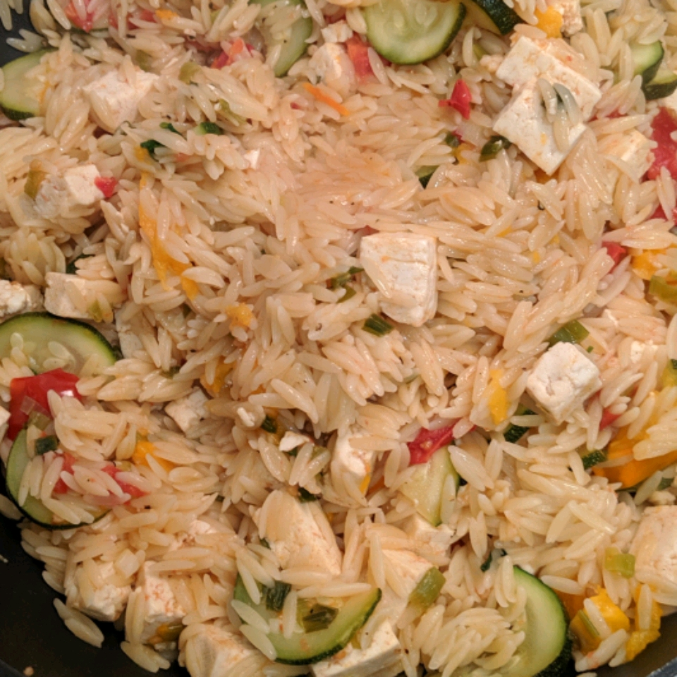 Orzo with Tomato and Fried Tofu