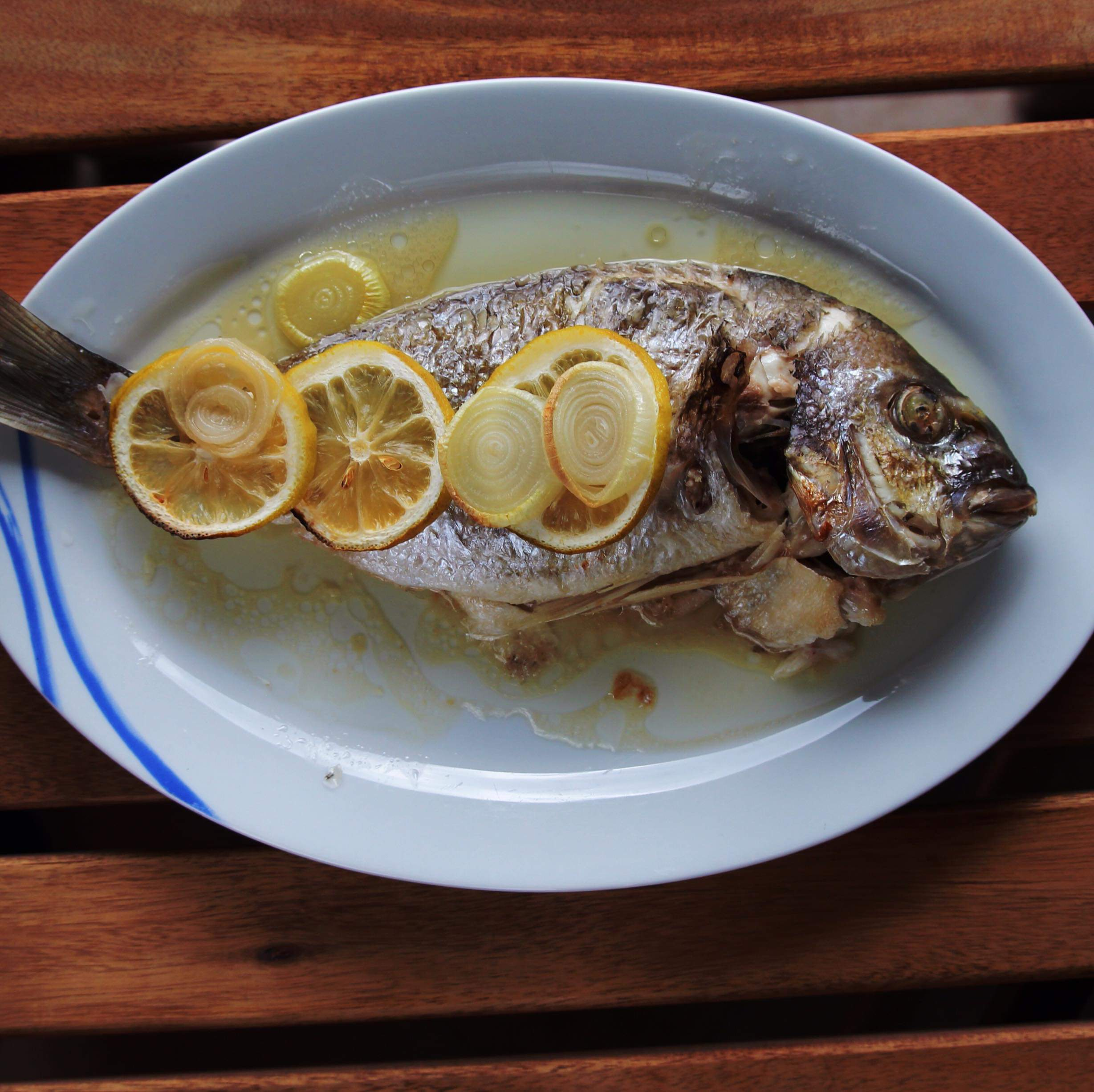 """""""This simple, healthy, and delicious Mediterranean fish, also known as 'Greek Sea Bass', should be cooked whole,"""" says Christala. """"The cavity of the fish can be stuffed with lemon and other ingredients for added flavor. It is a very mild-tasting and versatile fish. The oregano and lemon make it truly Greek cuisine that many will enjoy. Can be found wild-caught in many stores. Enjoy!"""""""