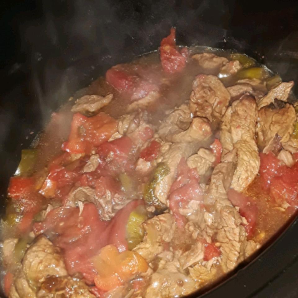 Slow-Cooker Pepper Steak Georgia Jacquett
