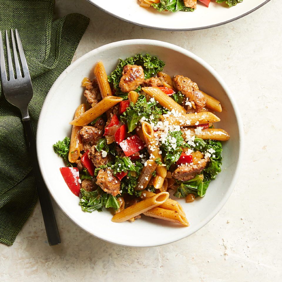 This entire healthy pasta recipe cooks in one skillet, so there's only one pot to clean! Try it with any greens you have in the fridge, such as chard or spinach. Source: Diabetic Living Magazine, Fall 2019