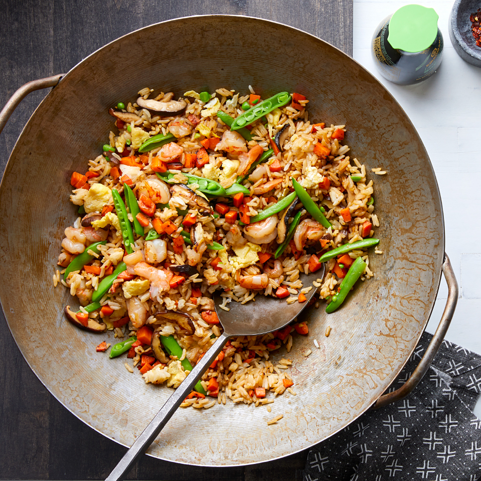 This healthy egg, vegetable and shrimp fried rice comes together in about 30 minutes for a delicious dinner you can make any day of the week. Fried rice is traditionally made with leftover rice cooked a day ahead; this recipe simplifies the process by cooking the rice together with the rest of the meal. Source: Diabetic Living Magazine, Fall 2019
