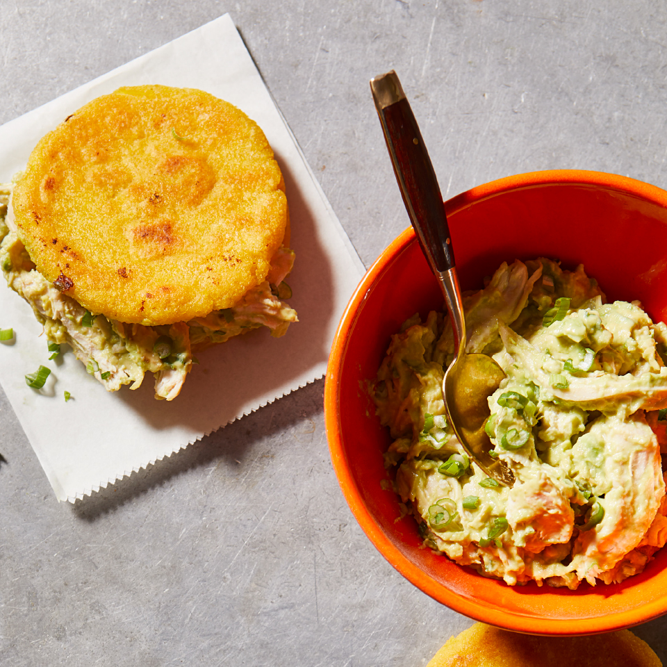 In Venezuela, sandwiches are often made with corn rolls known as arepas (ah-reh-pahs) that are crispy on the outside and soft on the inside. Here, we use the arepas to create a healthy sandwich stuffed with chicken and avocado salad. Source: Diabetic Living Magazine, Fall 2019