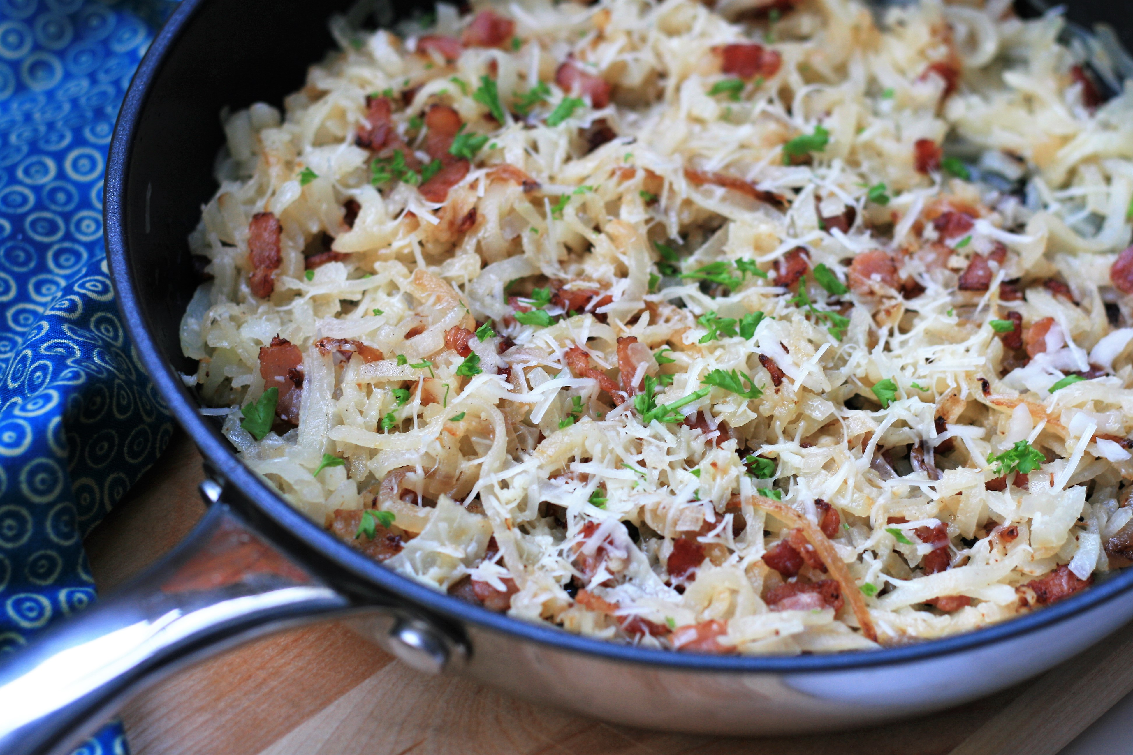 Kohlrabi Noodles with Bacon and Parmesan