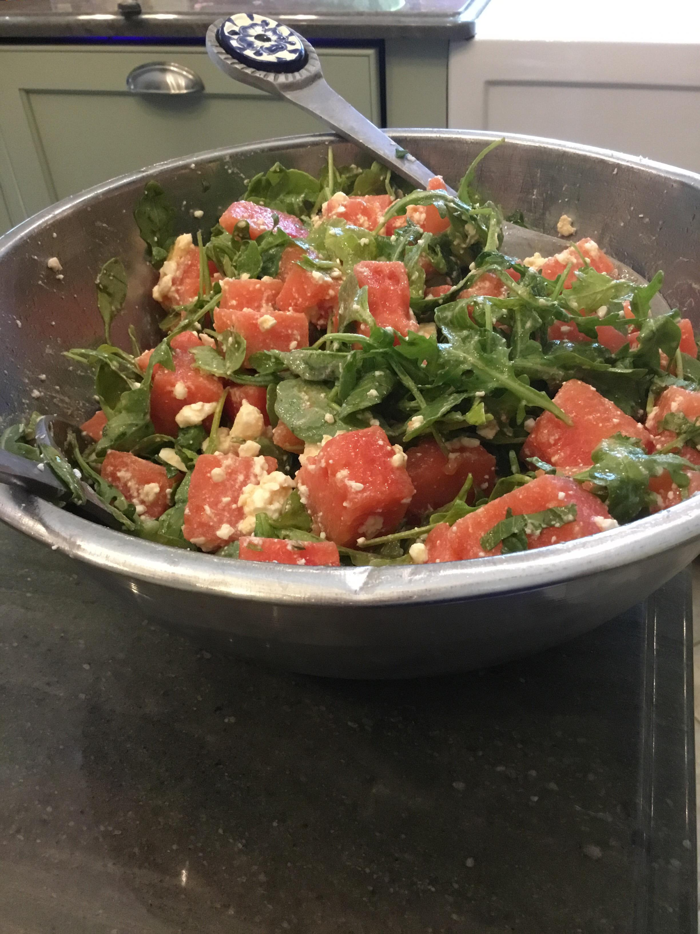 Watermelon and Feta Salad with Arugula and Spinach Eileen Caramagno