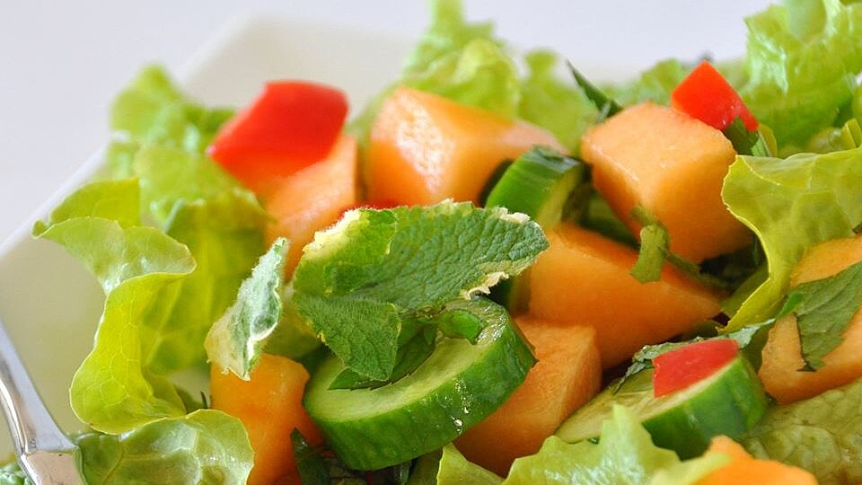 Spinach Cantaloupe Salad With Mint Recipe Allrecipes Top salad with basil and drizzle with balsamic glaze. spinach cantaloupe salad with mint