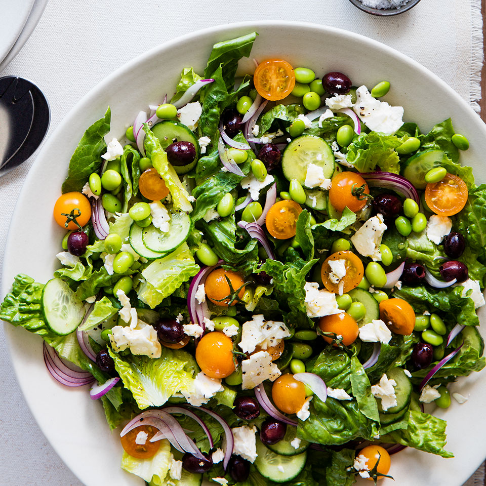 Edamame adds protein to the classic Greek salad: romaine, tomatoes, cucumber, feta and olives. Serve with toasted pita brushed with olive oil and sprinkled with dried oregano or za'atar. Source: EatingWell Magazine, September 2019