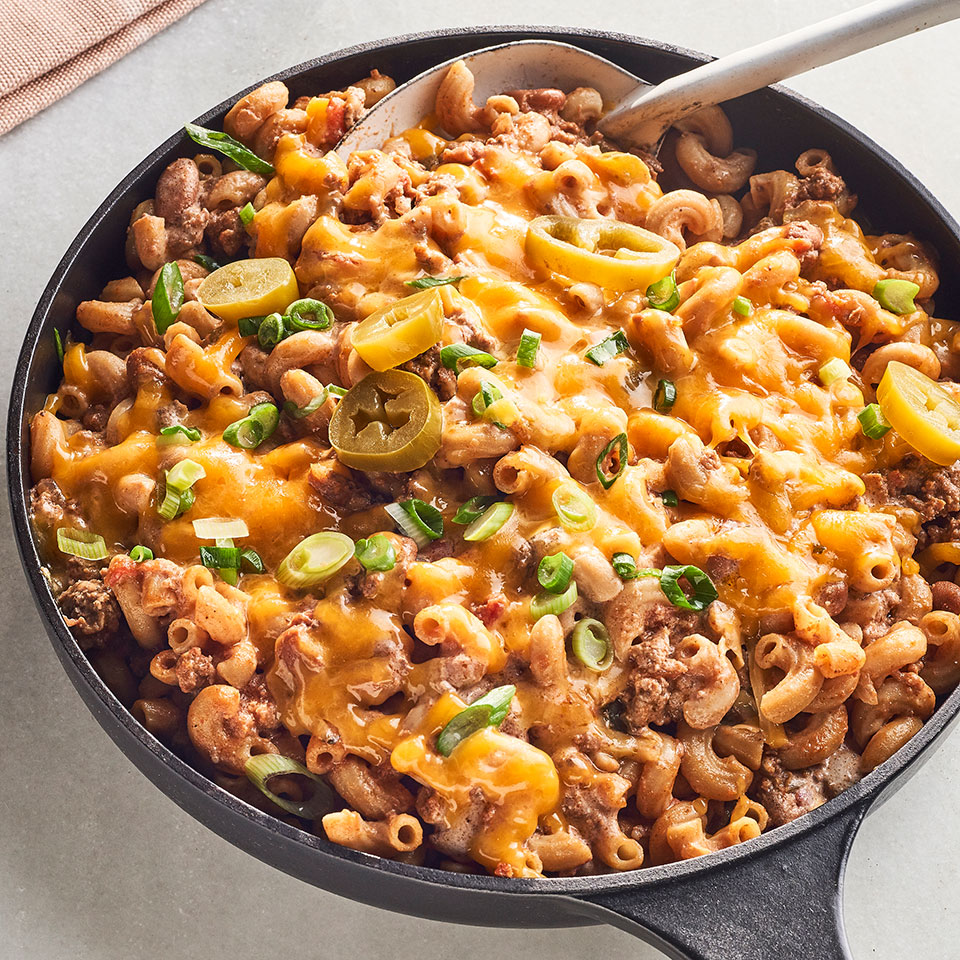 Poblanos add a kick of heat to this chili mac recipe. If that's not your thing, swap in green bell peppers to tone down the heat in this easy pasta dish, which mashes up mac and cheese and chili into a seriously satisfying skillet dinner. Source: EatingWell Magazine, September 2019