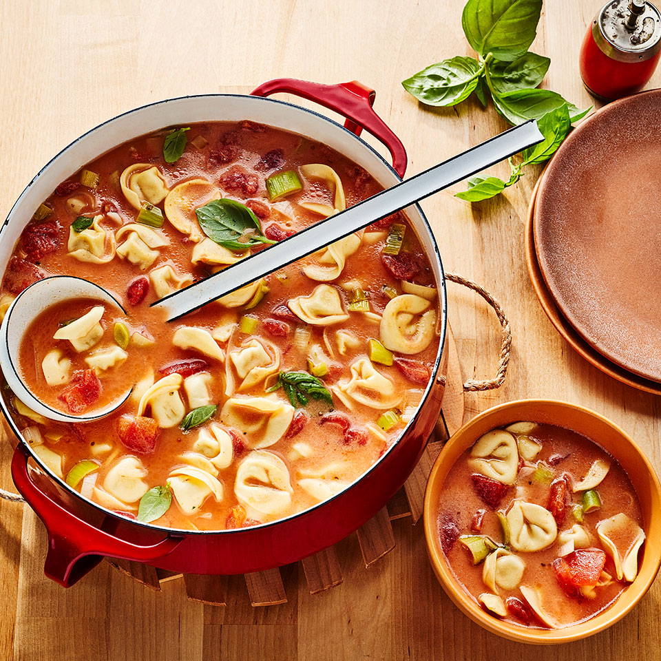 If you're a fan of the classic dipping duo of toasty grilled cheese and tomato soup then you'll want to try this combo: cheese-filled pasta floating in an earthy tomato base gives you that same craveable carb-and-creamy mashup, without all the crumbs. This family-friendly tomato tortellini soup is popular with kids, but adults will love it too--both its flavor and the fact that it requires less than 30 minutes of active time to prepare.