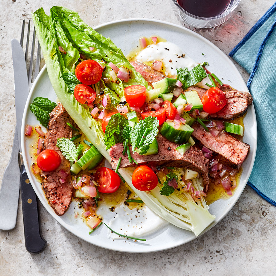 Steak Salad with Charred Onion Vinaigrette & Garlic-Cumin Yogurt Trusted Brands