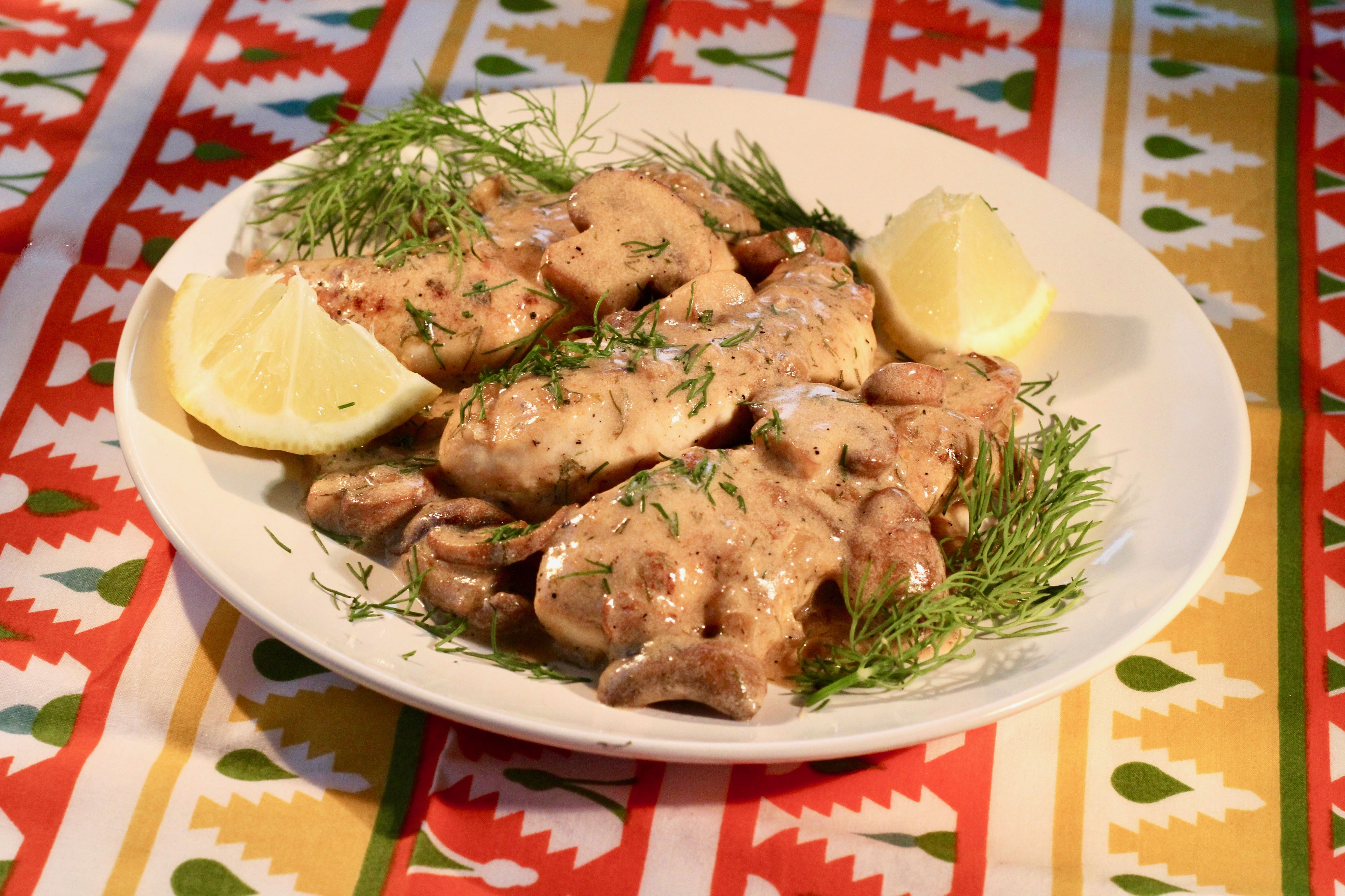Chicken Tenders in Lemon-Mushroom Cream Sauce lutzflcat