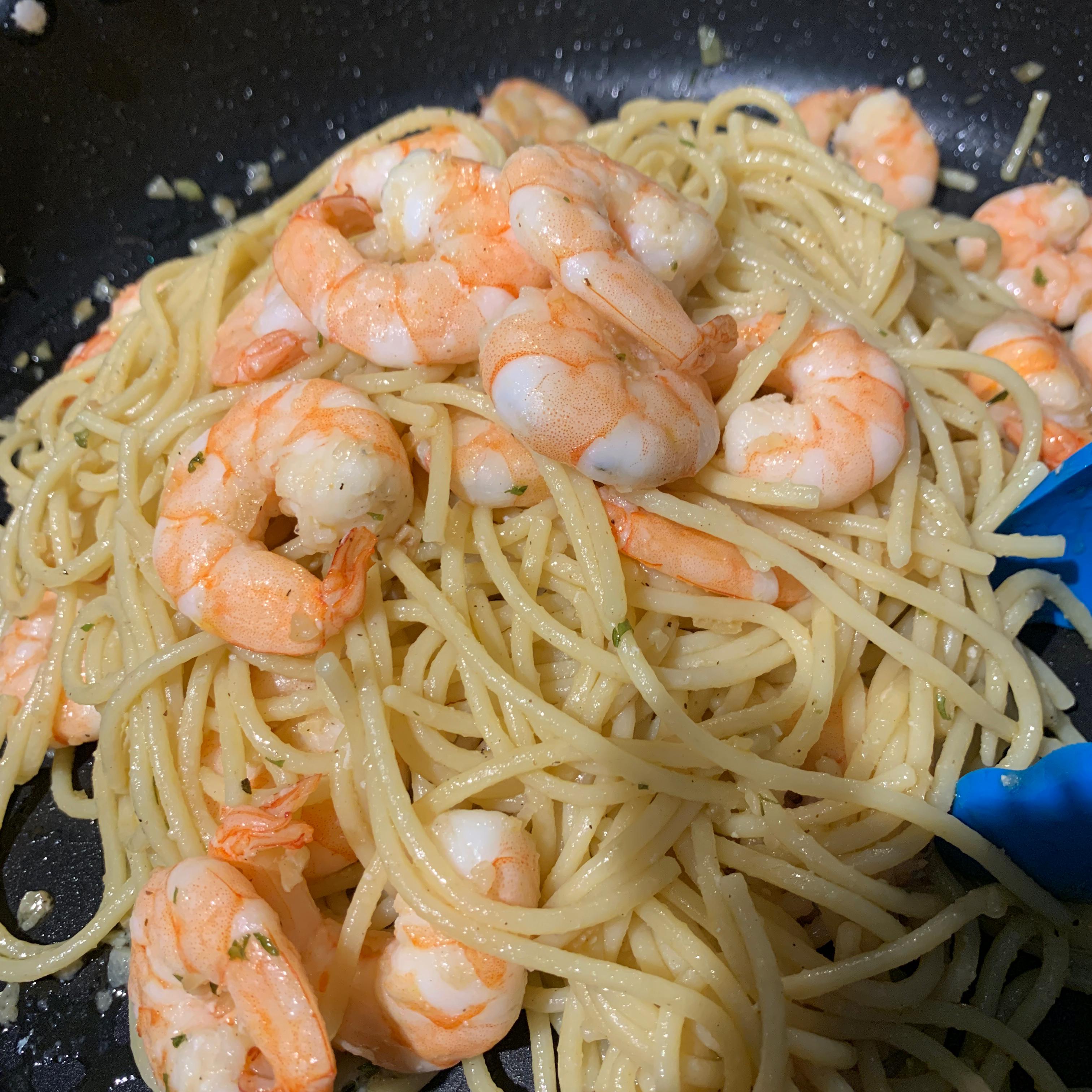 Garlic Pasta with Prawns