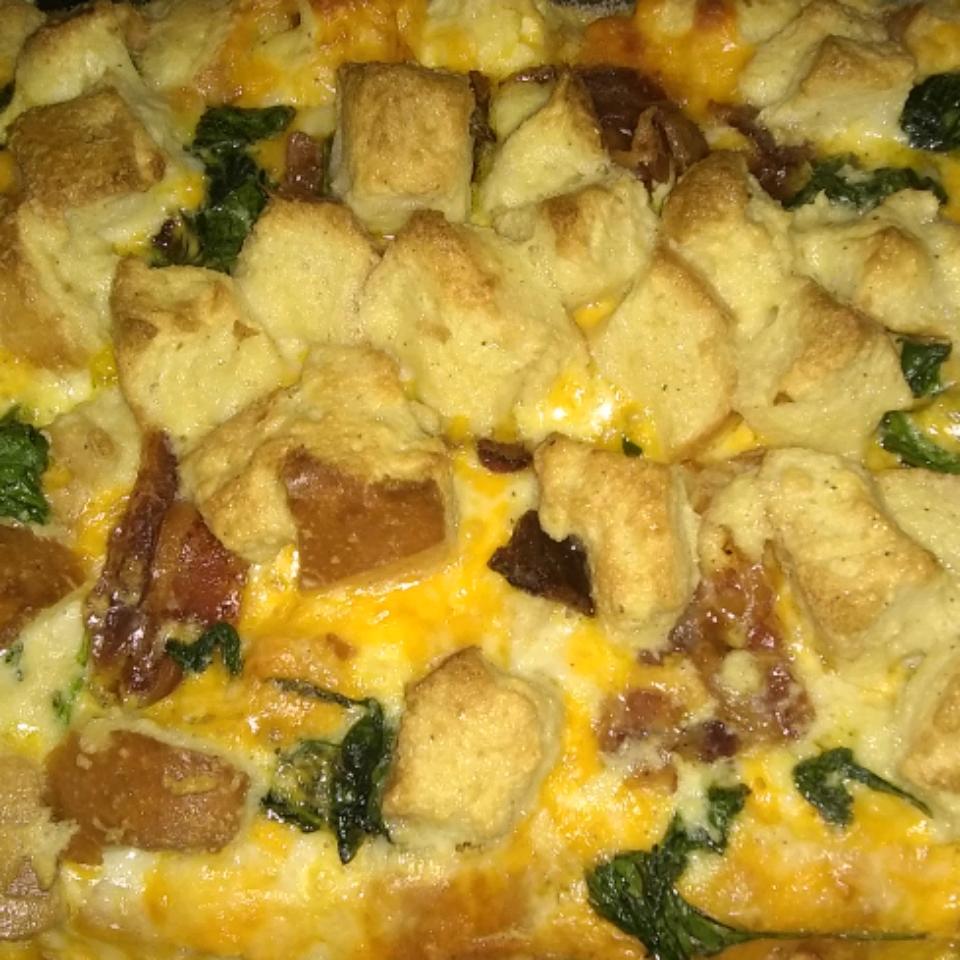 Bacon, Cheddar and Spinach Strata Carmelita Austin