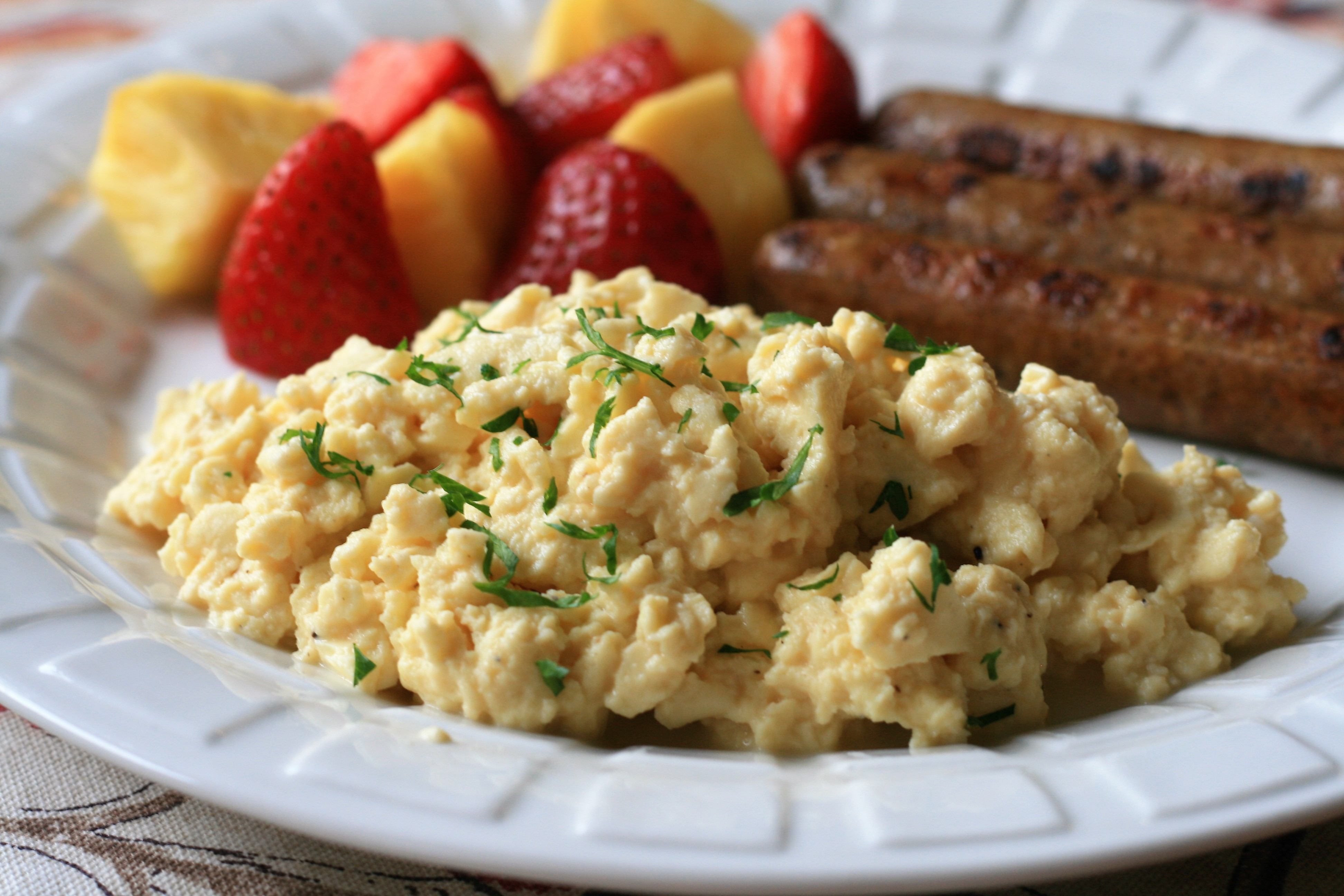 """Blend together eggs, milk, and cottage cheese and scramble slowly over low heat to keep the texture soft. """"Very soft, creamy, and tasty eggs!"""" says France C."""
