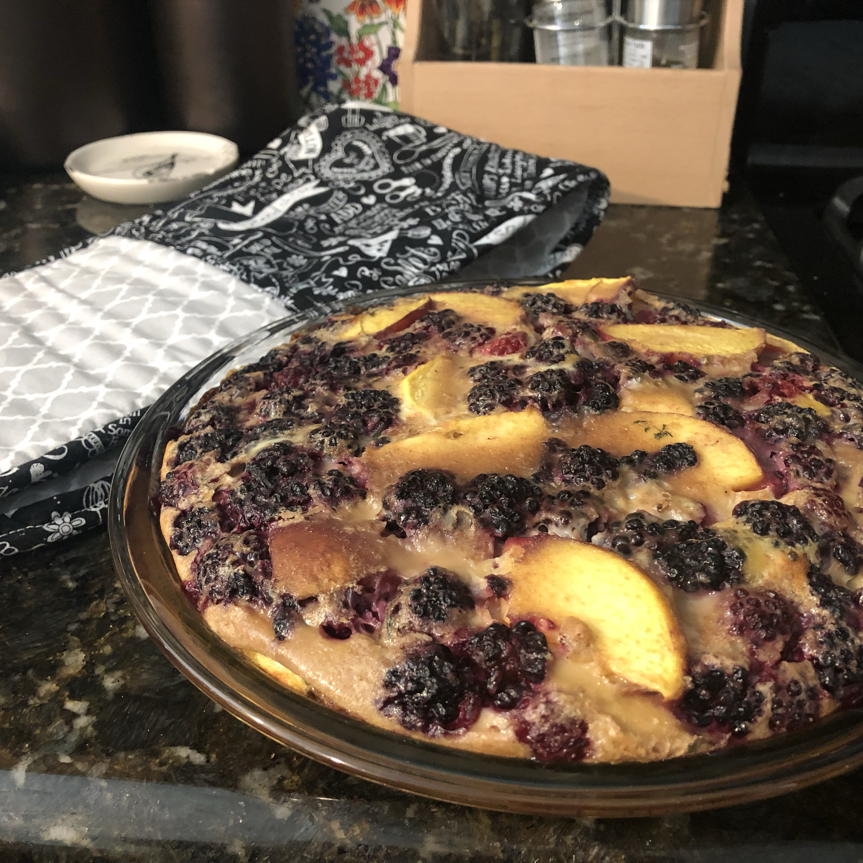 Chef John's Peach Blackberry Flognarde yummy