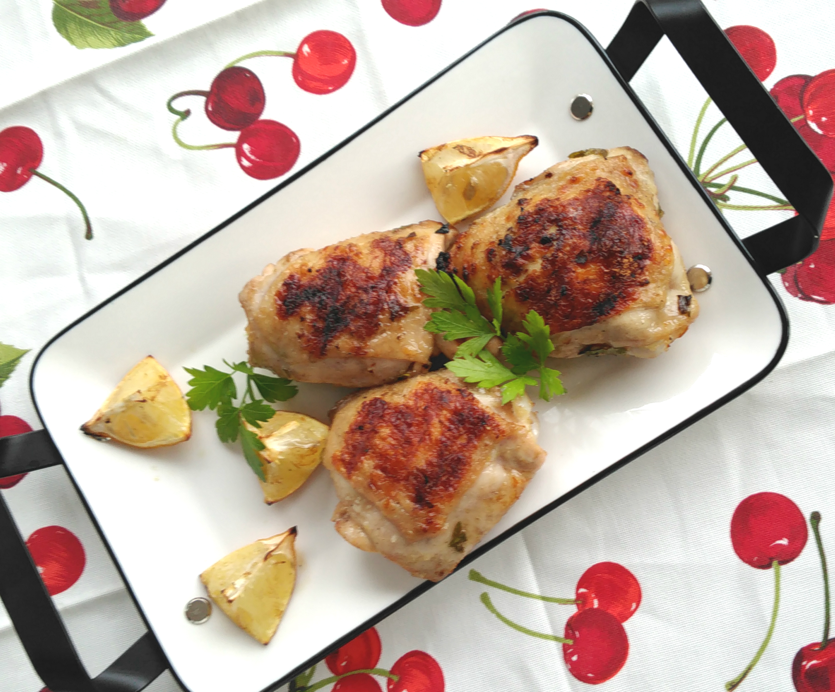 """Here's a simple marinade for juicy grilled chicken thighs. """"Whip up this easy lemony-garlic marinade before you head out to work in the morning, and come home to chicken thighs that will grill up to perfection,"""" says Bren."""