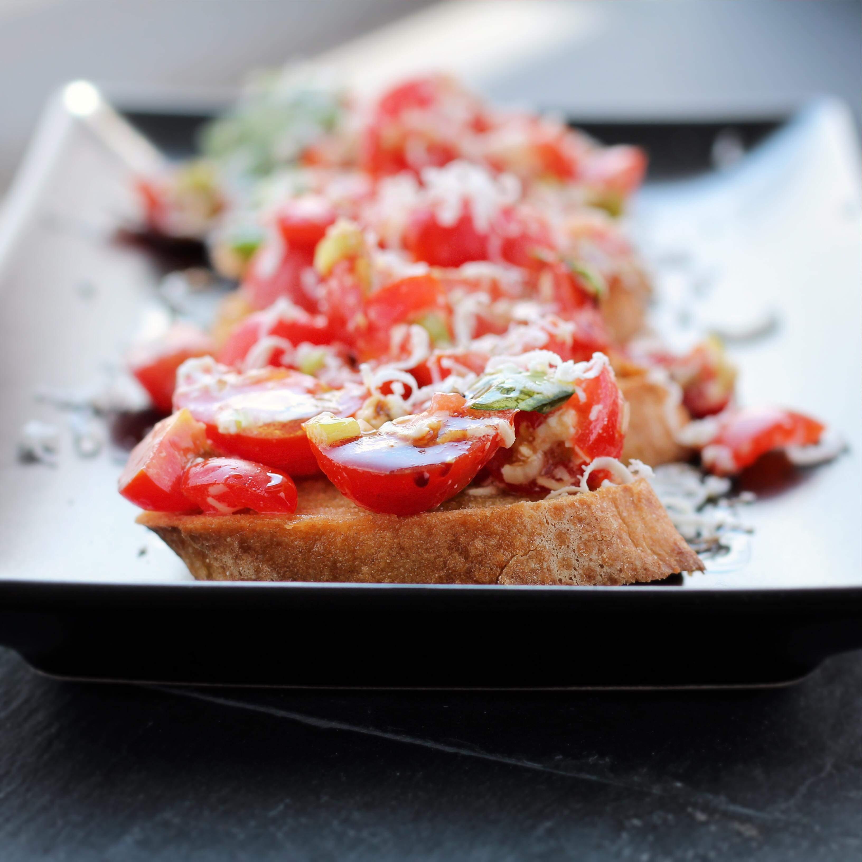 Tomato and Ricotta Salata Bruschetta
