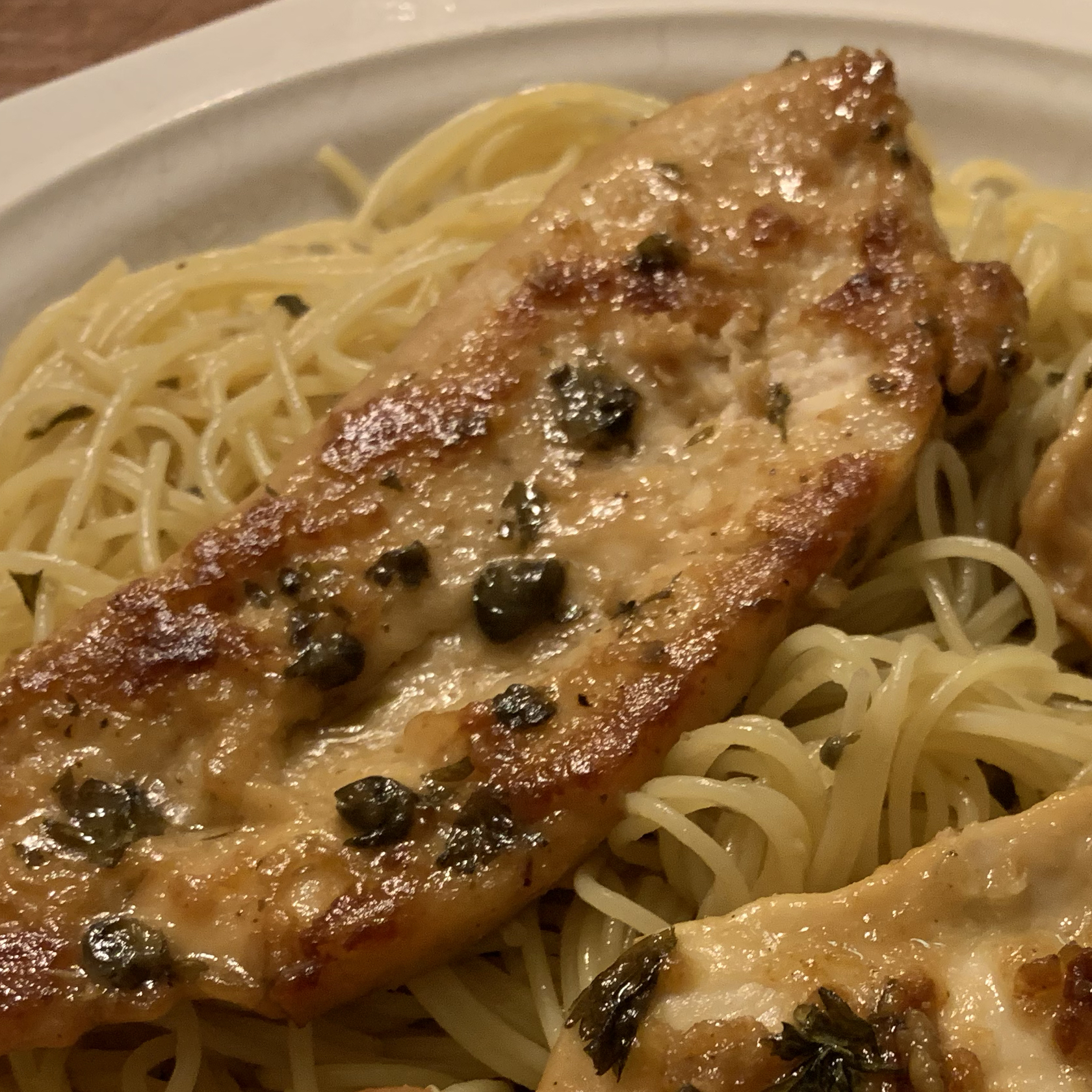 Chicken Piccata with Angel Hair Pasta