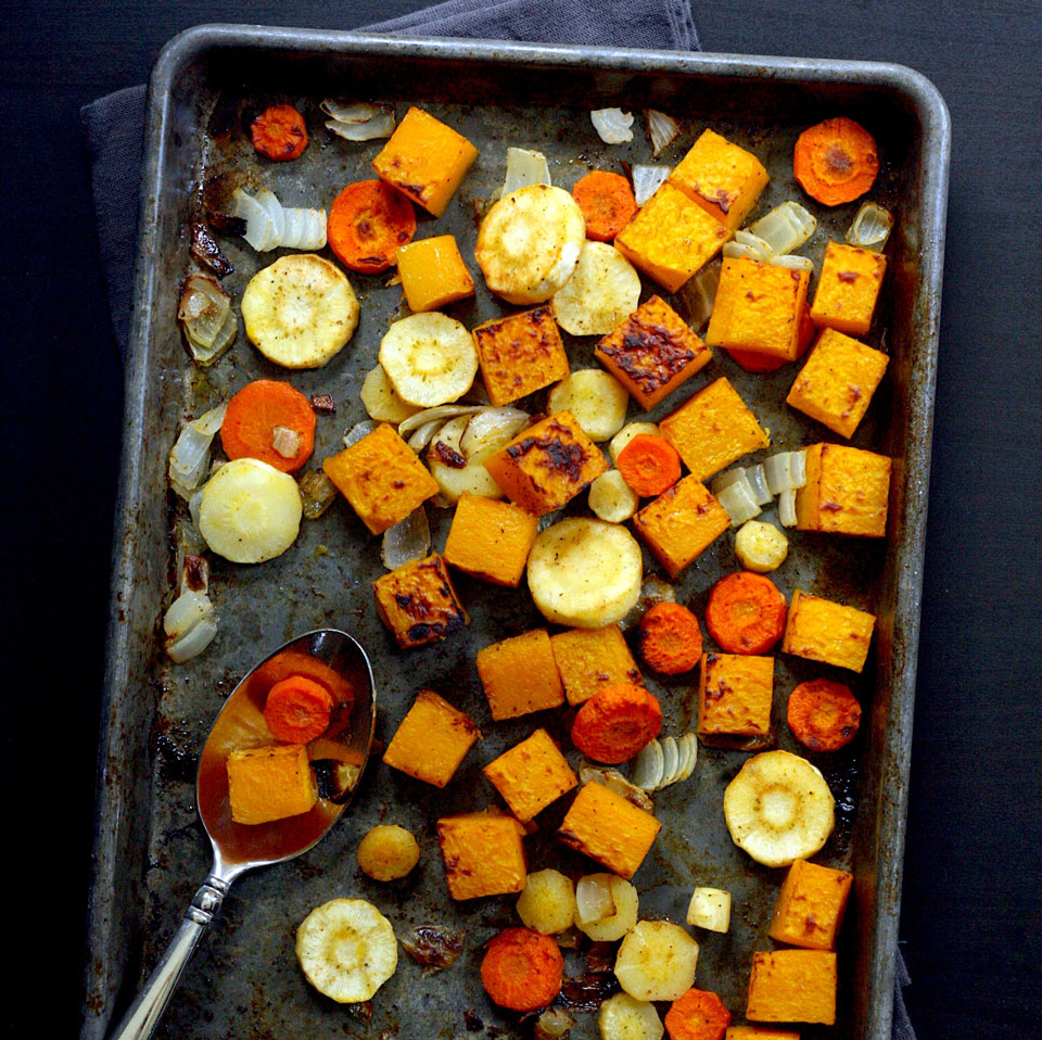 This easy roasted butternut squash and root vegetables recipe is incredibly versatile. Pile the squash and veggies onto grain bowls, add to sandwiches, toss in soup, serve as a side dish--you name it. Roasting vegetables in the oven gives you 20 minutes of hands-off cooking time to assemble the rest of your meal.