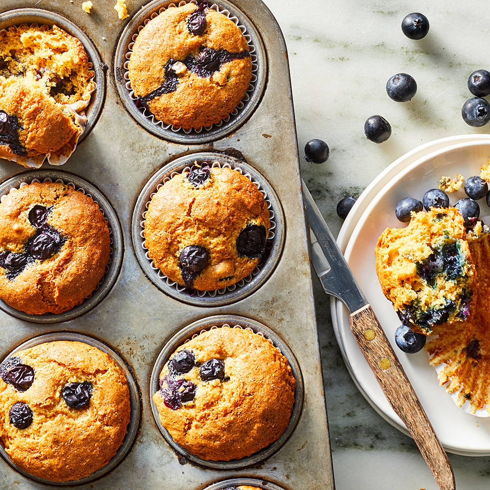 When you need a weekday grab-and-go breakfast, these blueberry-speckled whole-wheat muffins fit the bill (when you make them ahead, of course!) They have a great texture and flavor, and just enough blueberries to be fruit-filled in every bite. We stir blueberries into the flour mixture before adding the wet ingredients so they don't all stick to the bottom. Source: EatingWell.com, October 2019