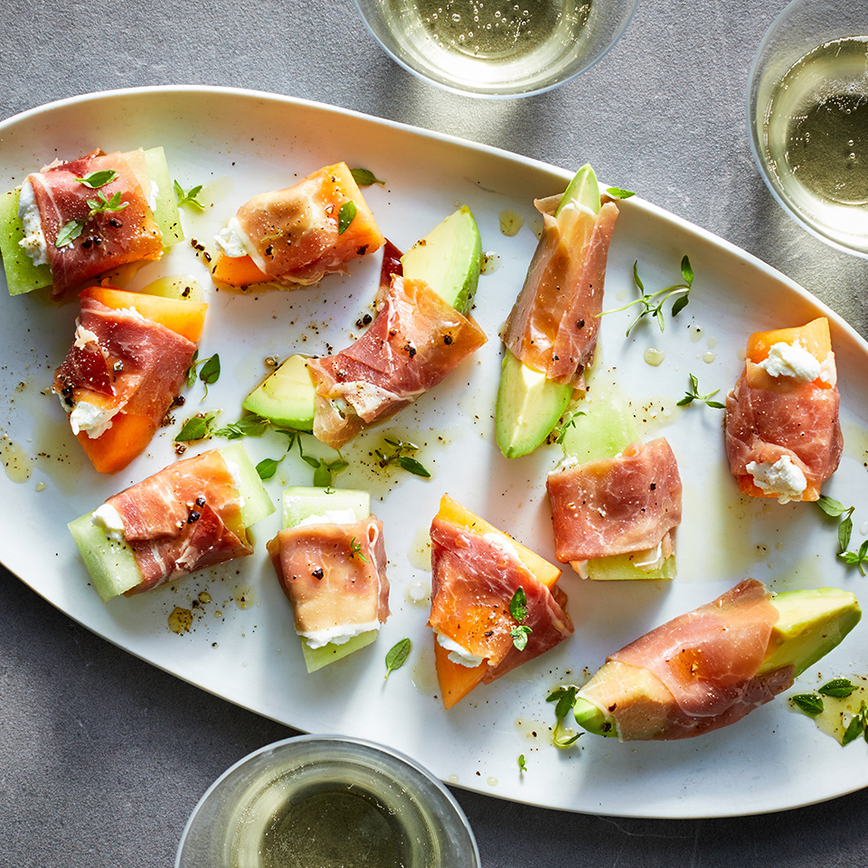 Prosciutto-Wrapped Avocado & Melon Bites