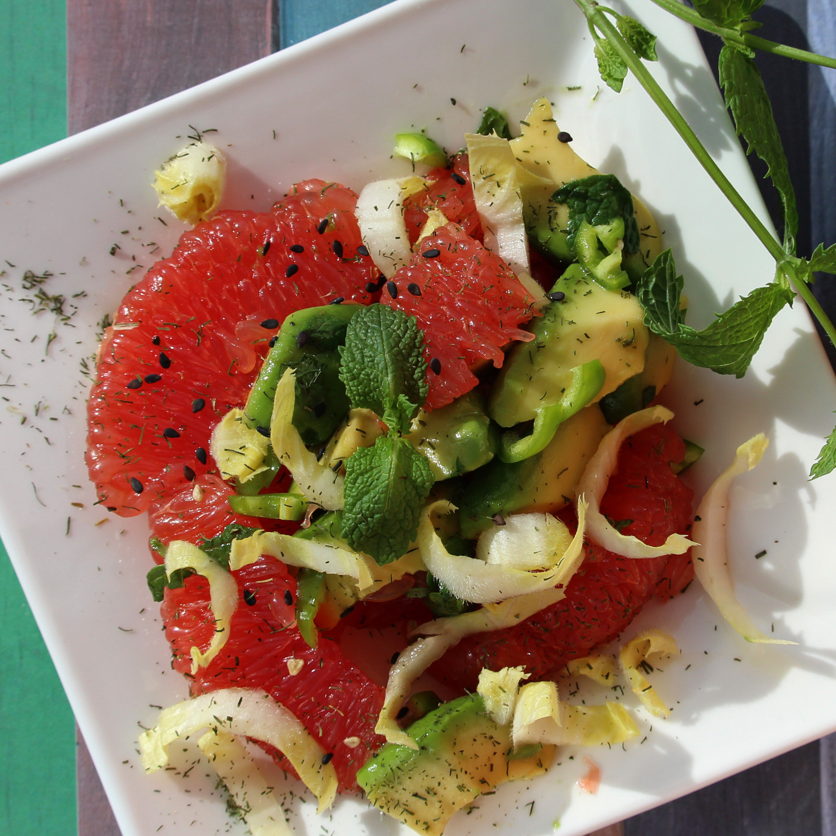 Avocado and Grapefruit Salad with Mint-Dill Vinaigrette