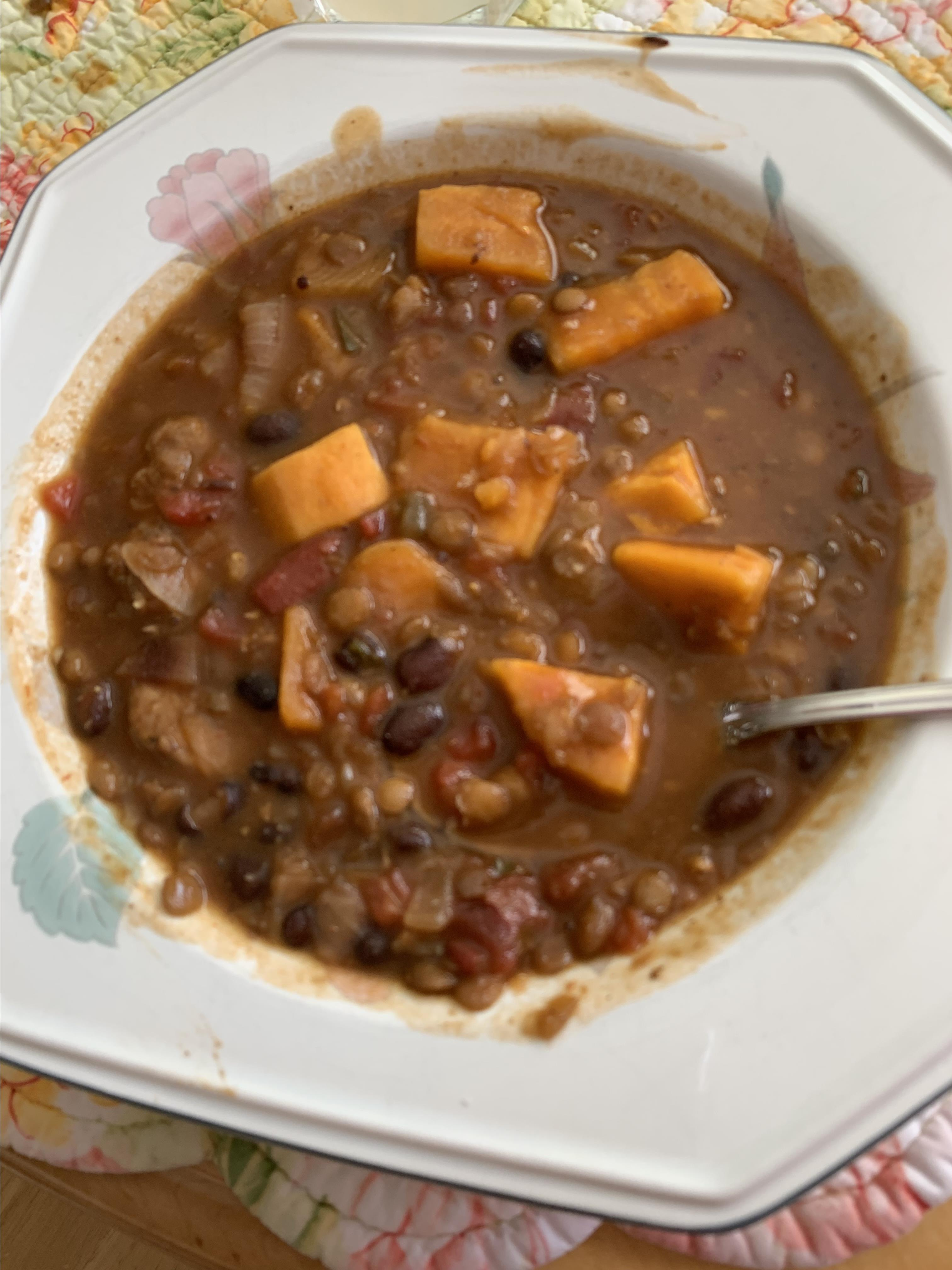 Lentil, Chicken Sausage, and Sweet Potato Soup clrohr
