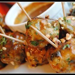 Ground Chicken Meatballs with Sweet Peanut Sauce