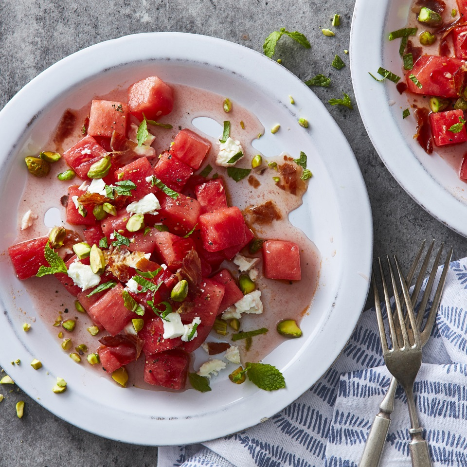 Salty prosciutto, tangy feta, crunchy pistachios, sweet watermelon and bright mint come together wonderfully in this fresh and easy summer salad. Feel free to sub crumbled bacon for the prosciutto, or skip the meat altogether for a vegetarian version of this salad. Source: Eatingwell.com, August 2019