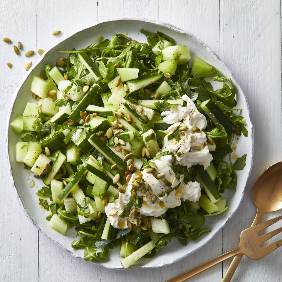 We doubled down--deliciously--on the green in this summer salad with melon, cucumber, basil, arugula and pepitas. Creamy burrata makes this easy salad extra luxurious, so it's perfect for summer parties. It would be lovely with grilled chicken or as part of a cold buffet spread. Source: EatingWell.com, August 2019
