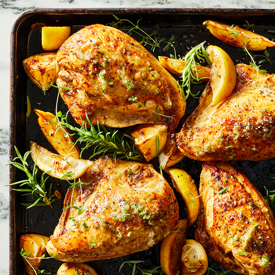 This easy-to-assemble combination of citrus, fresh herbs and pepper comes together quickly, uses very few dishes and leaves you time to prepare a side dish while the chicken cooks in the oven. This easy sheet-pan dinner feels like a fancy French chicken dish, but you probably have all the ingredients in your pantry. Source: EatingWell.com, October 2019