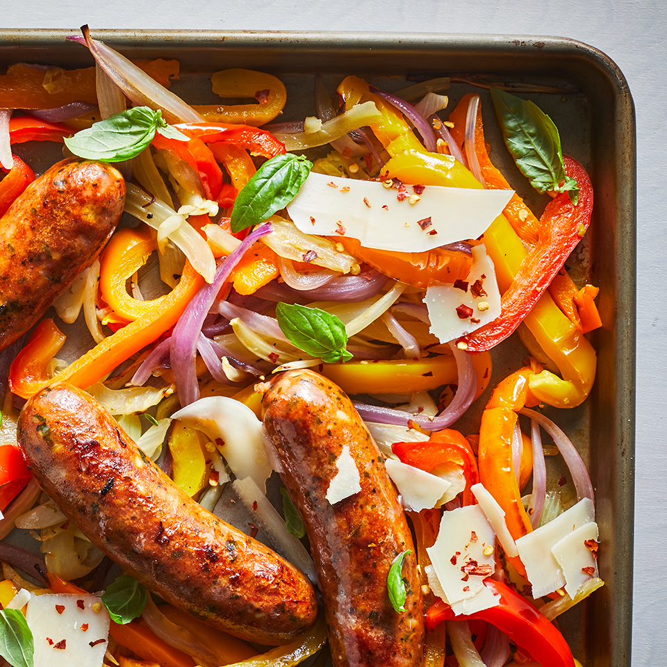 This easy one-dish meal is bound to become a regular in your dinner rotation--it's super simple and comes together quickly. Be sure to preheat your sheet pan--adding vegetables to a hot pan helps start the charring and caramelization, without steaming your veggies. And remember, you are only heating up your sausage, not cooking it from raw in this recipe, but if you substitute with fresh sausage (which you can), you'll need to cook the sausage longer. Source: EatingWell.com, October 2019