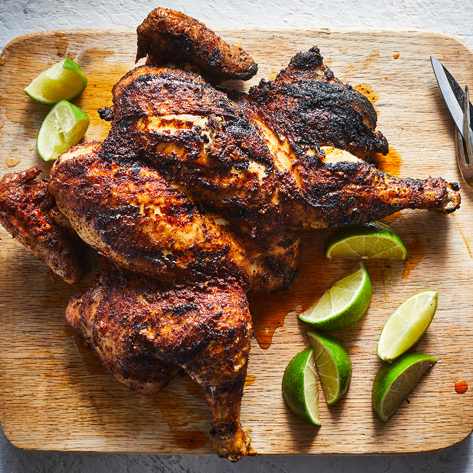 Crispy skin, tender meat and charred skin make for a delicious dinner main. Plus, the blend of paprika, cumin and cinnamon match deliciously with the chicken. You can eat this grilled chicken as-is--perhaps with a side of grilled vegetables and roasted potatoes--or shred it and put it in a salad. Source: EatingWell.com, October 2019