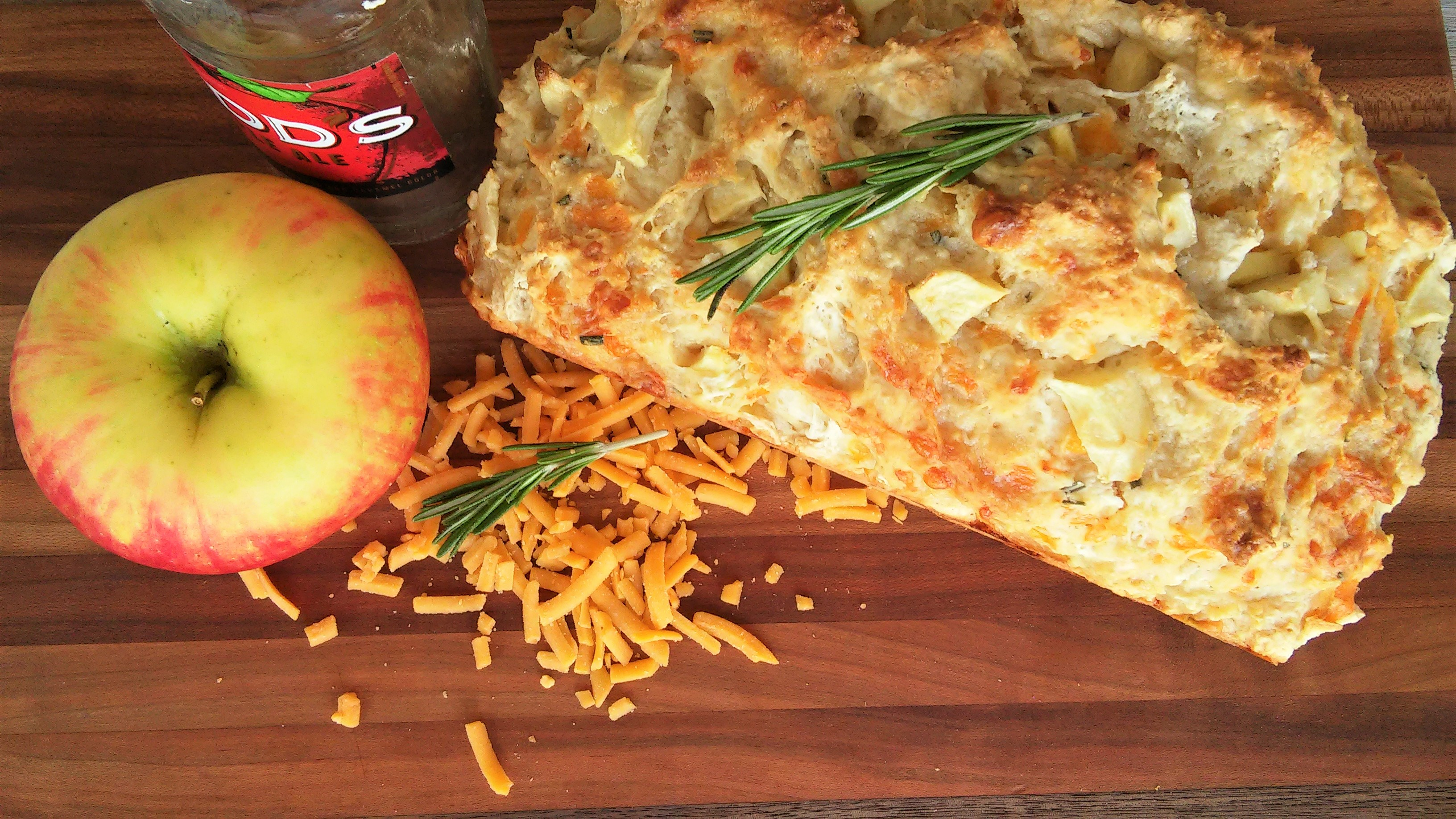Apple, Cheddar, and Rosemary Beer Bread