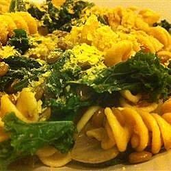 vegan lentil kale and red onion pasta recipe