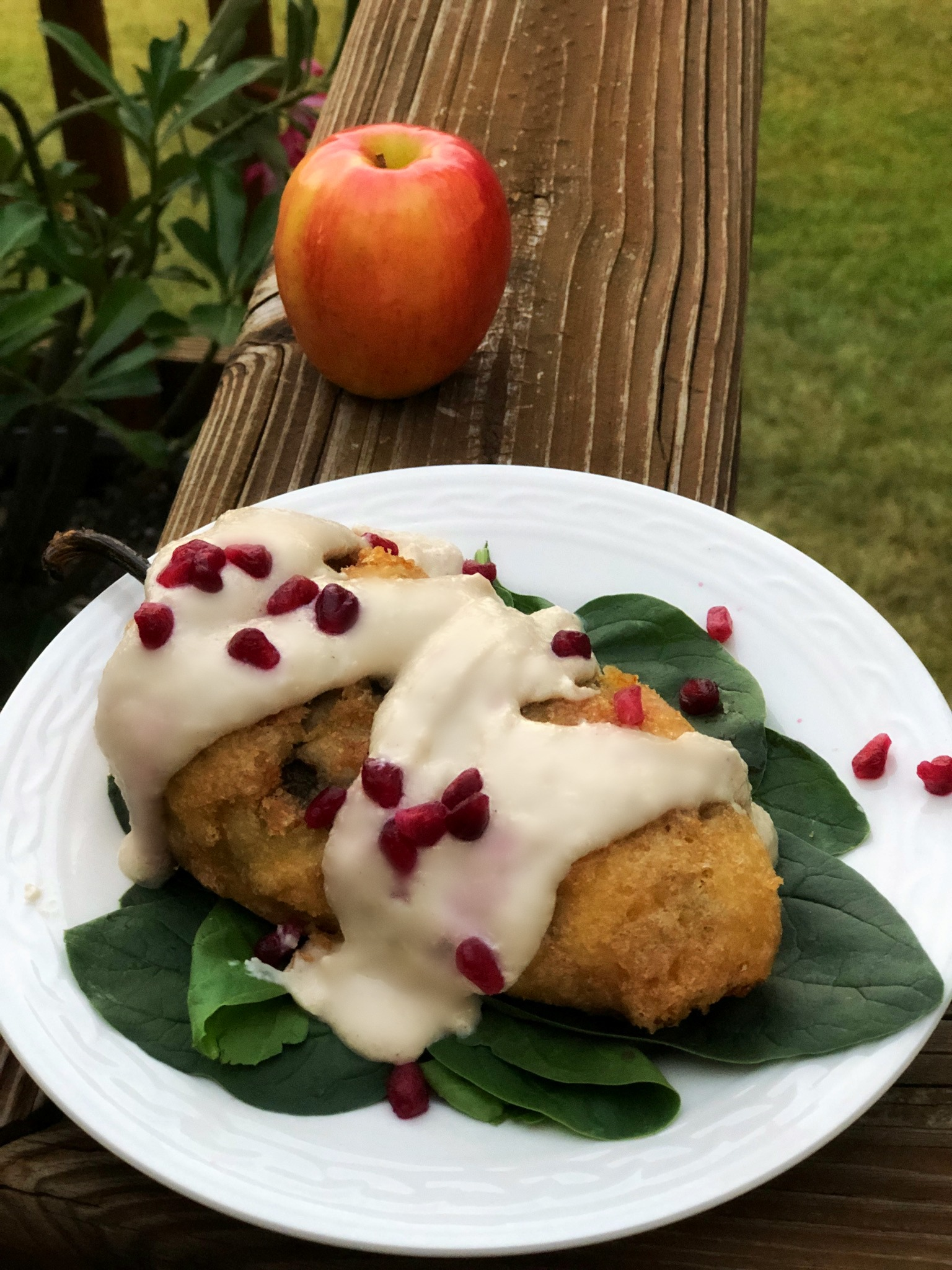Squash Blossom Chile Relleno with Walnut Cream Sauce