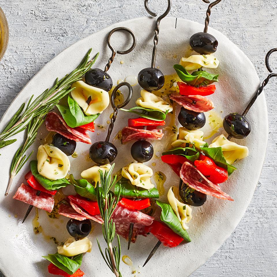 Tortellini, Pepper & Salami Antipasto Skewers Liz Mervosh