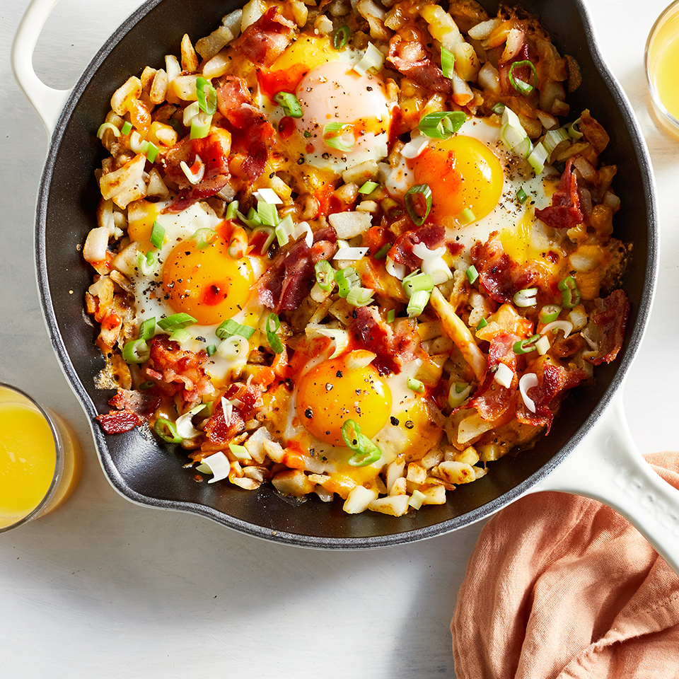 This breakfast skillet is reminiscent of the hashbrown bowl at Waffle House. It's filling and tastes decadent, but is still a pretty low-calorie breakfast. Be sure to use a large skillet because although it may seem too big for the amount of ingredients, you need the surface area to get your potatoes crispy (overcrowding your skillet will just steam them). Source: EatingWell.com, October 2019