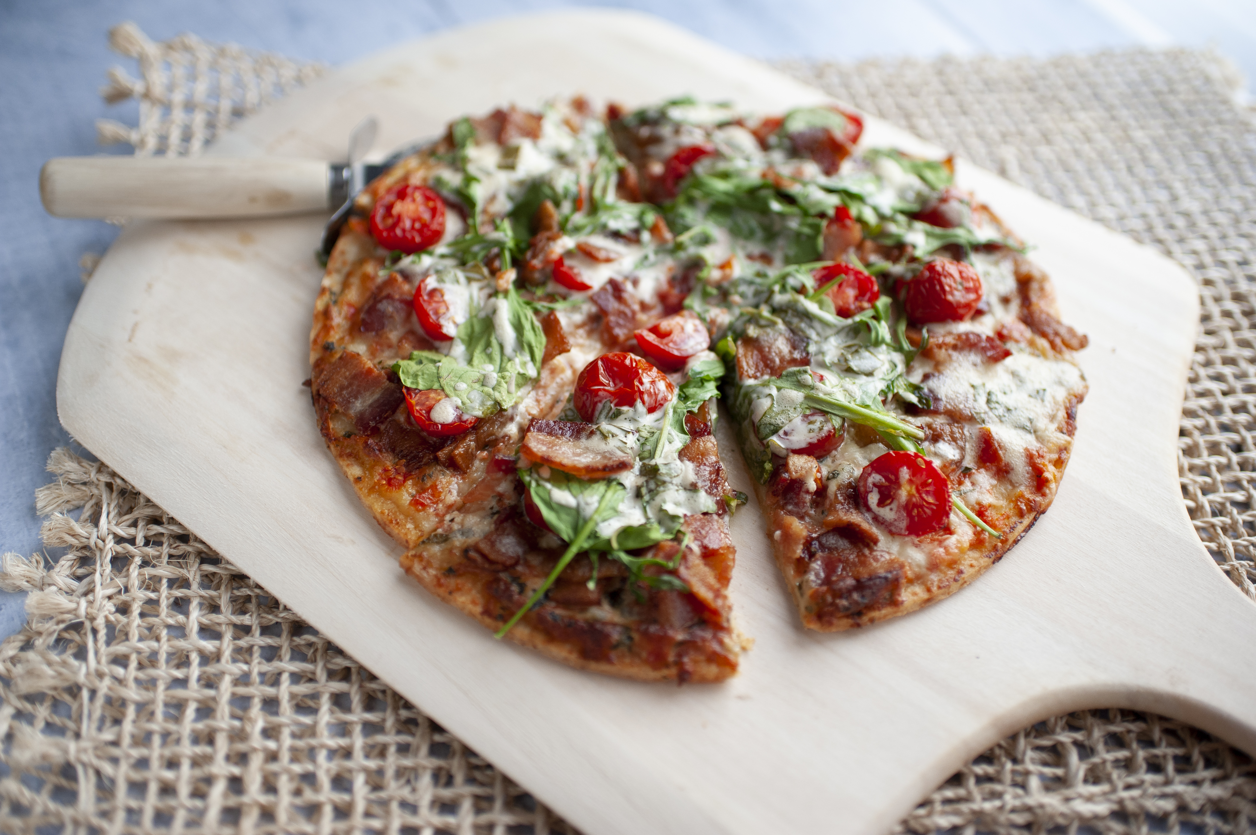 BLAT Pizza with Basil Mayo