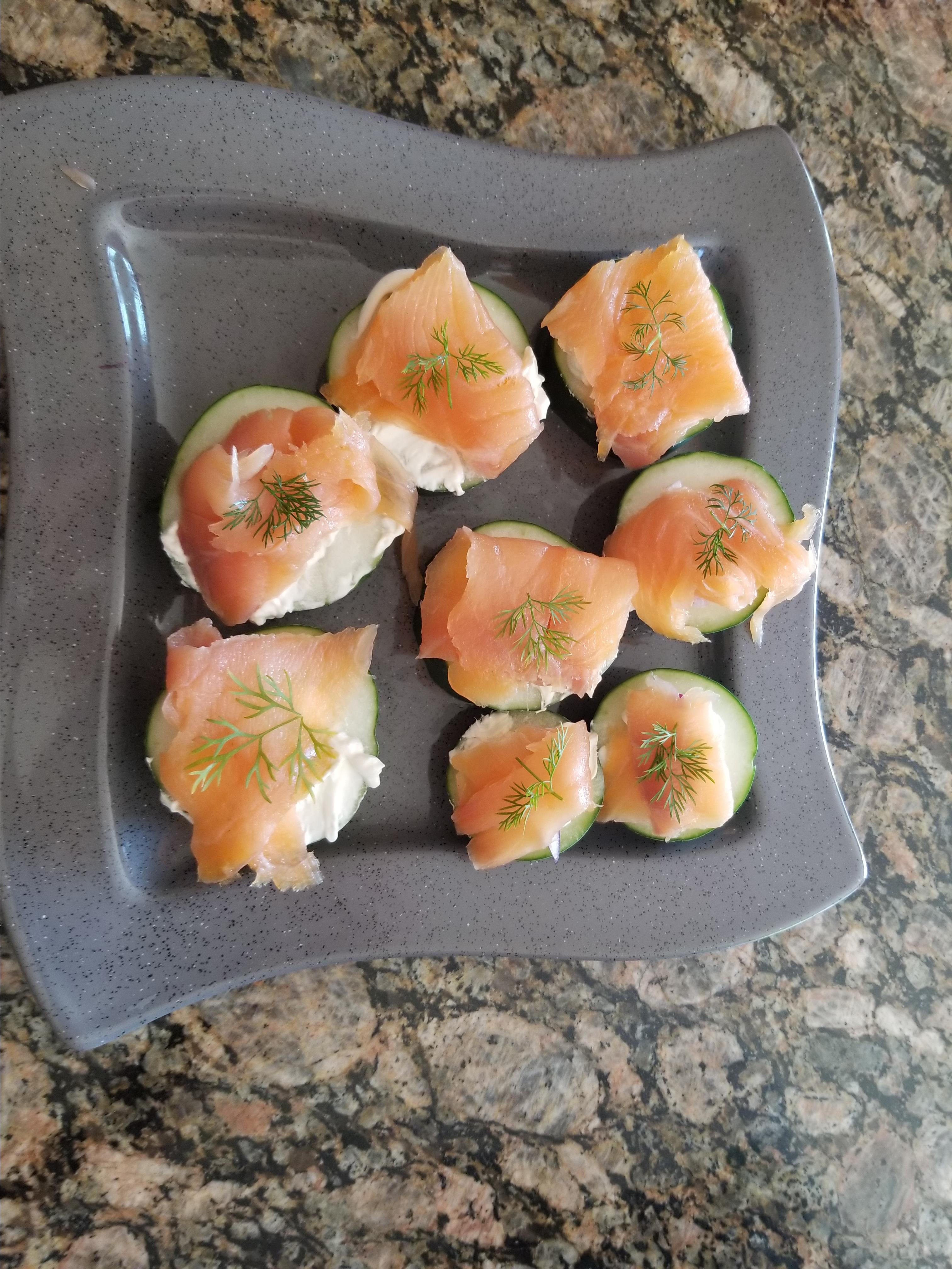 Cucumber Cups with Dill Cream and Smoked Salmon JennyJen2009
