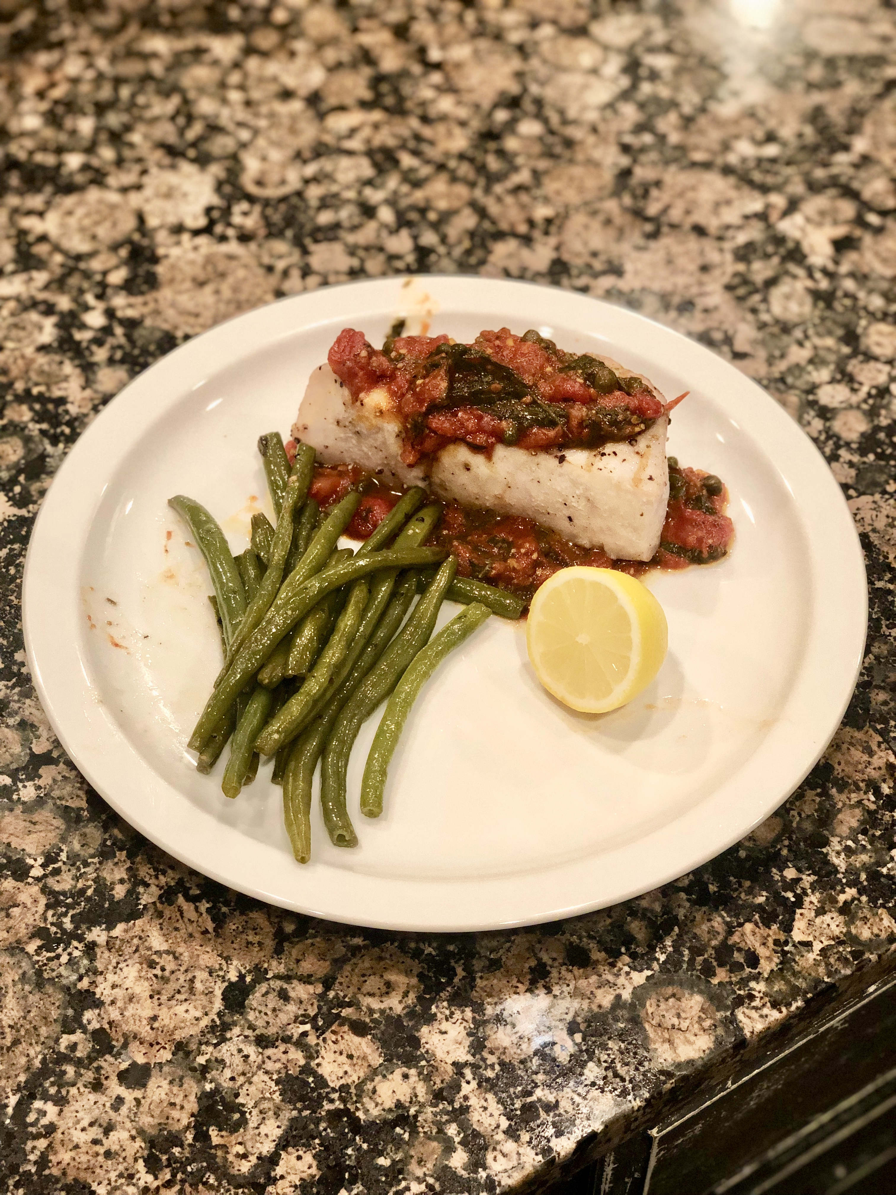 Grilled Amberjack with Tomato Basil Caper Sauce