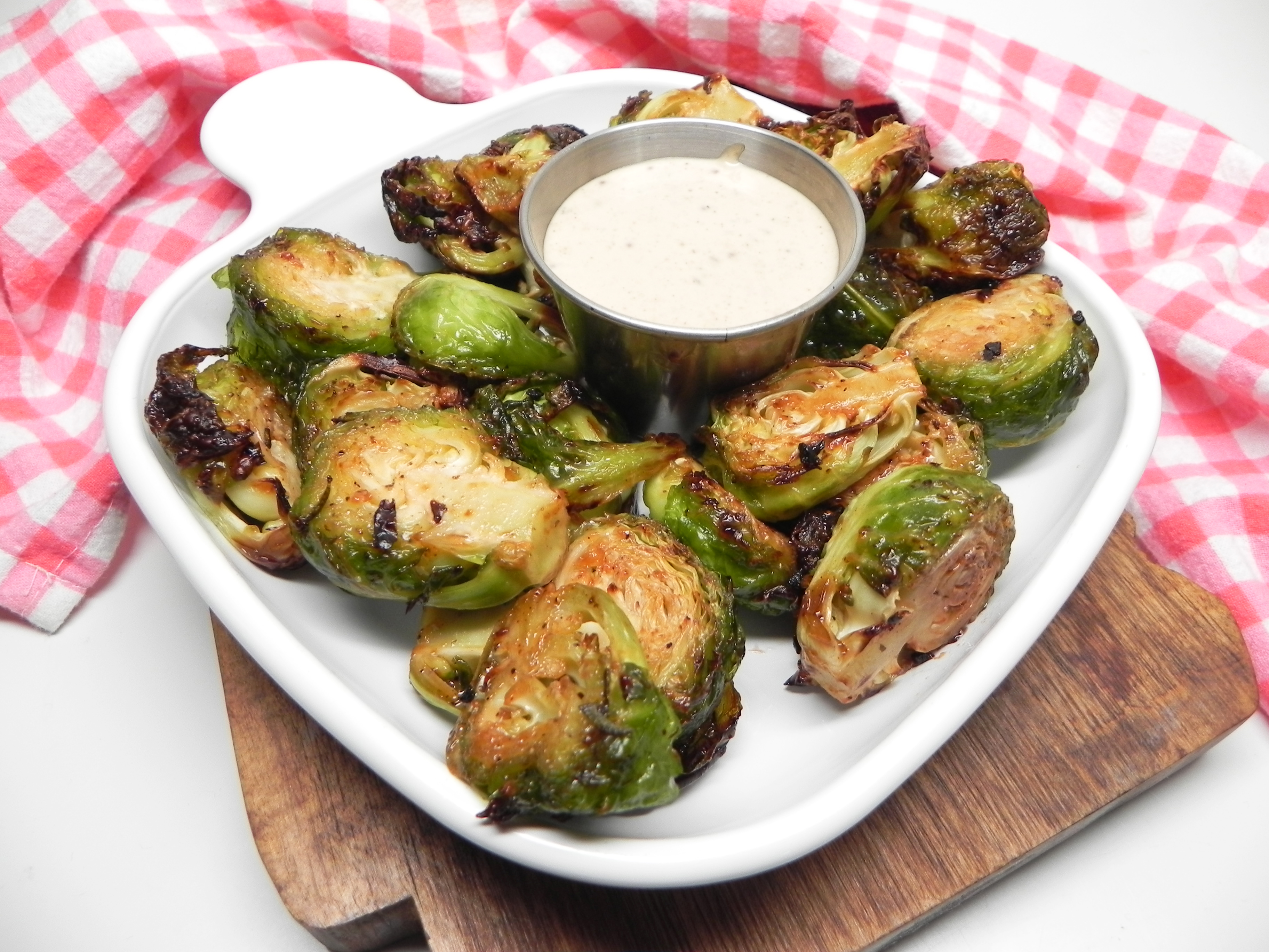 Air Fryer Roasted Brussels Sprouts with Maple-Mustard Mayo Soup Loving Nicole