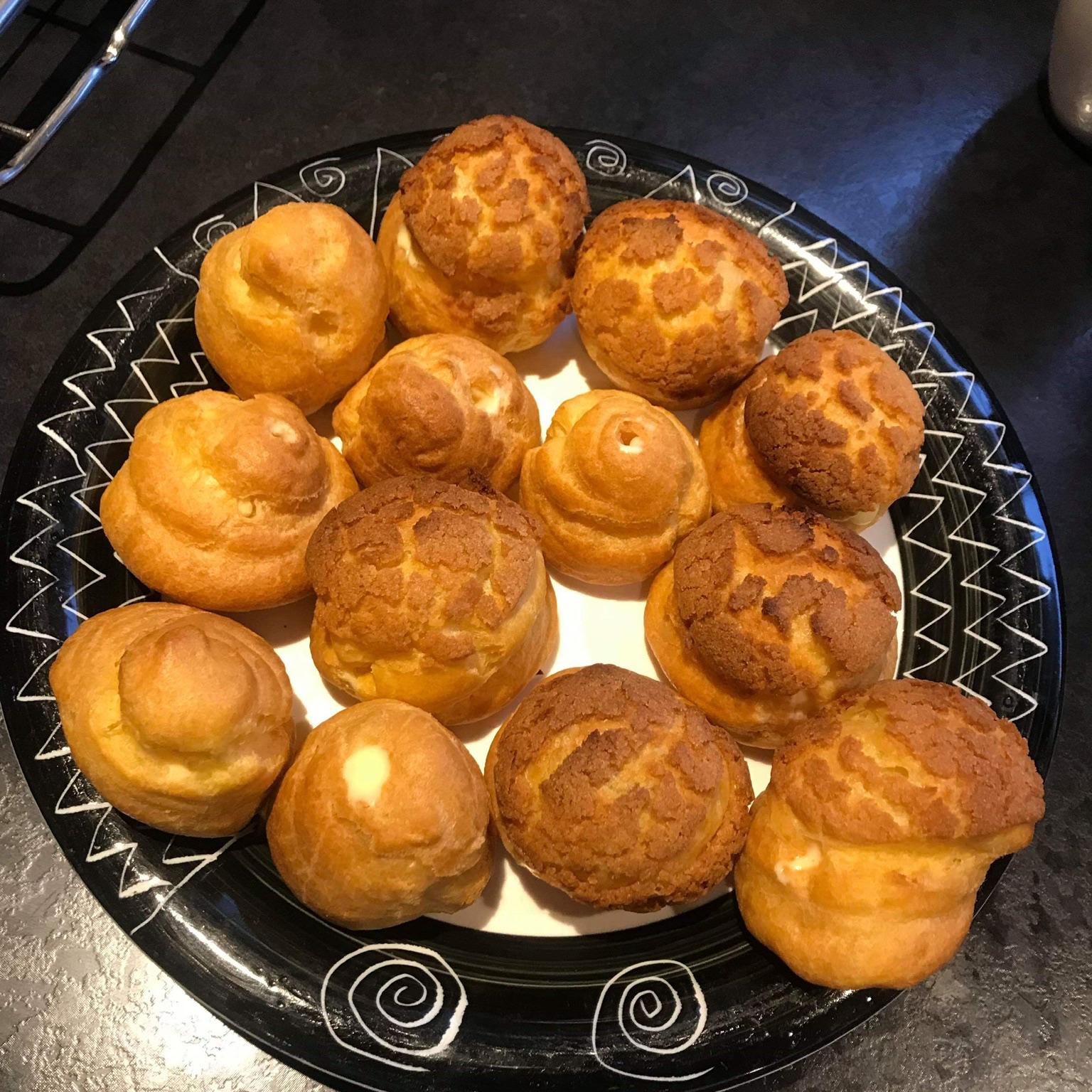 "Cream Puff ""Crack Buns"" (Choux au Craquelin)"