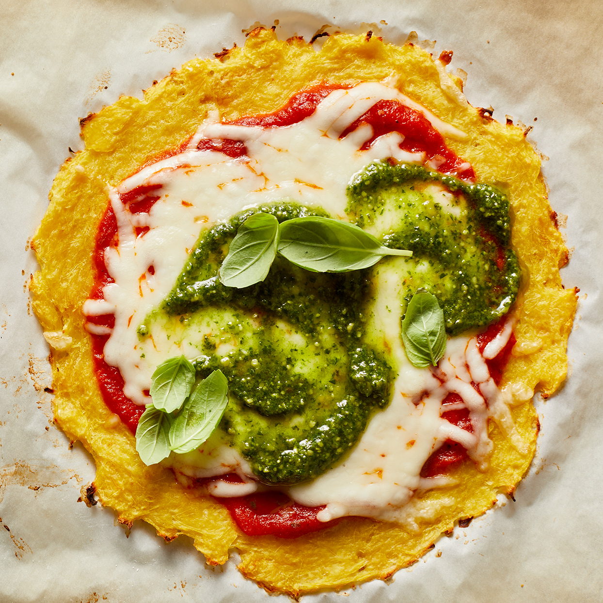 Pesto Pizza with Spaghetti Squash Crust Robin Bashinsky