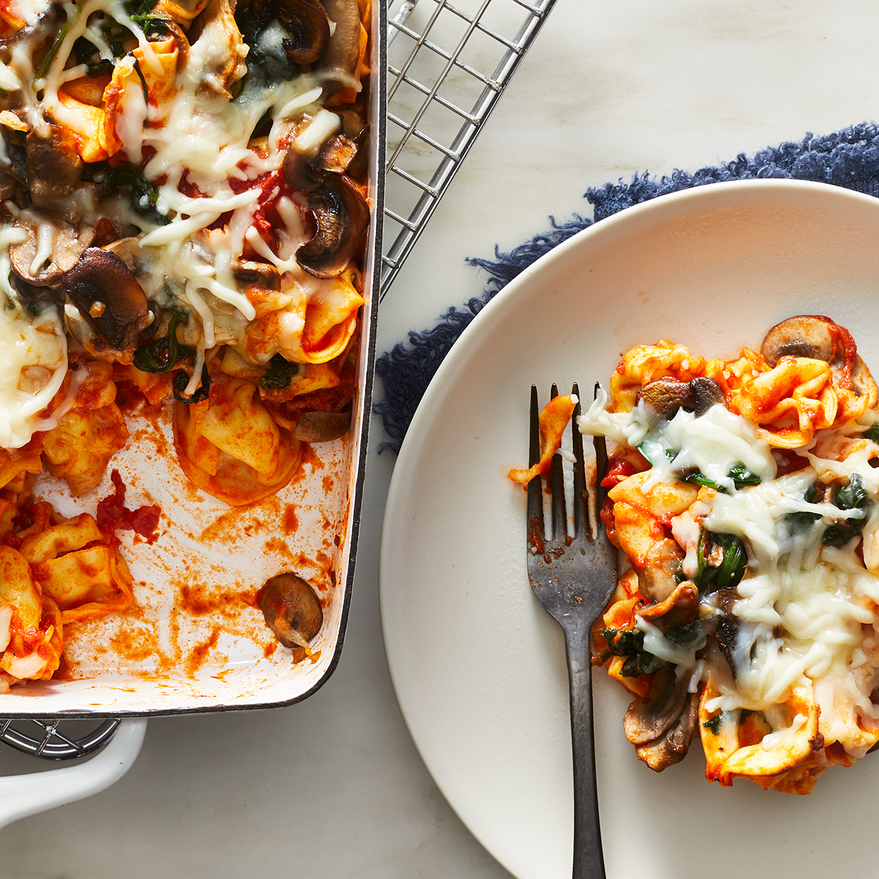 This cheesy tortellini bake is a dish the whole family will love--it's filled with sweet-tasting marinara, mushrooms and spinach and topped with melted cheese. Complete the meal, plus get in another vegetable serving, by adding a side of broccoli or a small green salad. Source: EatingWell.com, September 2019