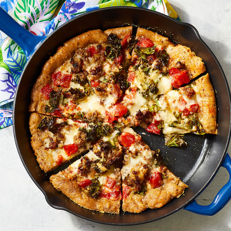 Cast-Iron Skillet Pizza with Sausage & Kale Trusted Brands