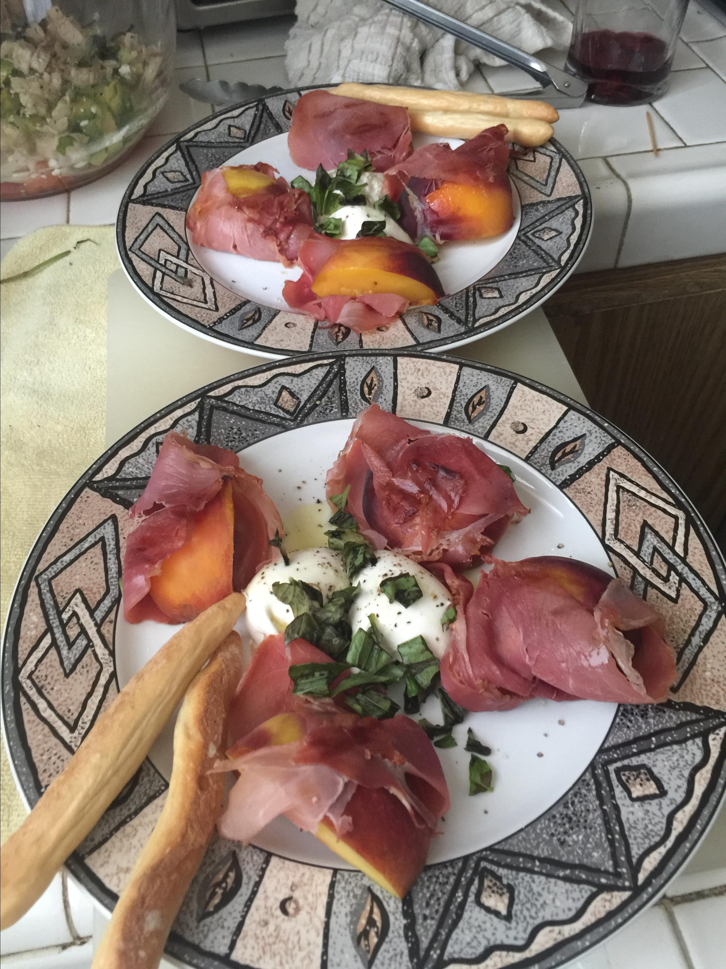 Grilled Prosciutto-Wrapped Peaches with Burrata and Basil